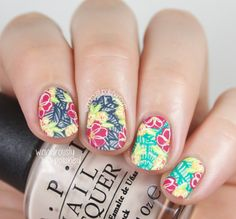 A Day in the Tropics - Tropical Floral Nail Art
