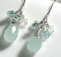 earrings..  olivine Swarovski crystal briolettes by NaLa