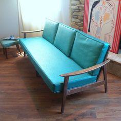 1950's Mid Century Modern Teal and Walnut Sofa