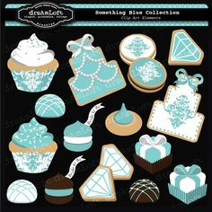 Something Blue Engagement Collection Sweets for cards, stationary, invitations, party favors, and all paper crafts Tiffany Theme, Tiffany Party, Tiffany Blue, Blue Sweets, Engagement Party Themes, Sweet 16 Parties, Breakfast At Tiffanys, Wedding Cookies, All Paper