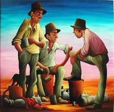 Mates and the dog Australian Painting, Australian Artists, Paintings For Sale, New Zealand, Illustration Art, Gallery, Artwork, Murals, Fictional Characters