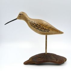 Charles Moore Sandpiper Bird Figurine Hand Carved Painted Wood Stand Signed Vtg #CharlesChasMoore