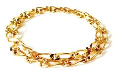 Monet Gold Necklace Gold Chain Flat Link by PrettyShinyThings4U, $22.00