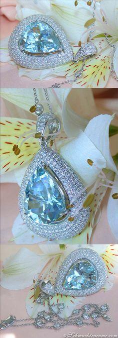 Huge Aquamarine Diamond Pendant, 14,64 ct. WG18K - Visit: schmucktraeume.com Like: https://www.facebook.com/pages/Noble-Juwelen/150871984924926 Mail: info@schmucktraeume.com