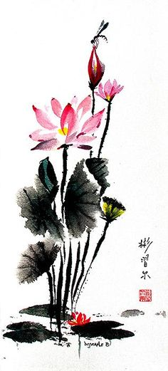 Lotus Retreat,Spontaneous (xie yi) style chinese brush painting on rice paper by bgsearle.
