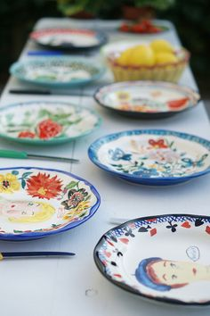 hand painted plates by natalie lete