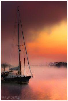 Sunrise on the Sailboat by Paul Jolicoeur
