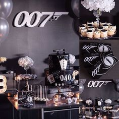 #mulpix Last night I had the pleasure of creating this 007 James Bond Surprised 40th Birthday for Kristy's husband Bao. Kristy's husband was turning 40 and she really wanted a fun and classy Casino Royale themed 40th Birthday with the chosen colour theme of black, white and silver. Thank you Kristy for the opportunity to create something special for your husband's 40th. Concept styling | graphic designing | hand crafting | floral arrangements | photography by @sweeteventstyling Cake: Client…