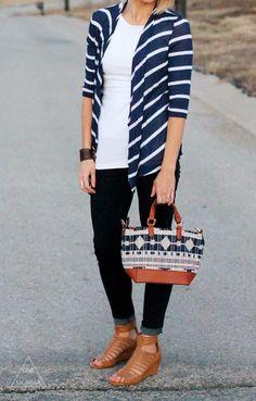 Striped cardigan, dark denim, strappy sandals. Stitch Fix I Love everything about this look! Dark, skinny denim is my FAV!