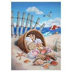 Seaside Shells Nautical Summer Decorative Garden Flag by Custom Decor