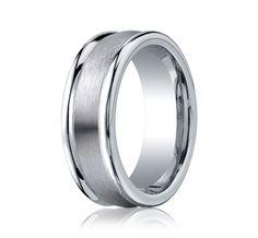 Benchmark Cobalt Chrome 8 MM Comfort Fit Wedding Band With Satin Center
