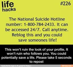 1-800-784-2433 24/7 The National Suicide Prevention Line number Re-blog this and you could save someone's life!