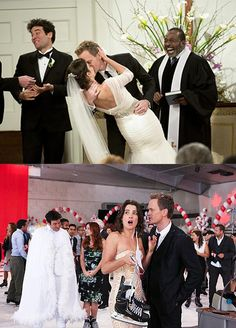 Grab the remote and a carton of Ben & Jerry's because we've rounded up the most iconic TV and movie weddings to ever exist! Barney And Robin, Wedding Movies, Old Hollywood Glam, How I Met Your Mother, Bridesmaid Dresses, Wedding Dresses, Movie Tv, Wedding Inspiration, Dresses With Sleeves