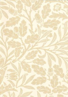 Acorn Wallpaper Wallpaper with acorns and oak leaves in beige on cream