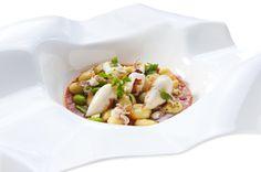 M<3 Gnocchi di patate, favette e calamaretti farciti di stoccafisso mantecato con amatriciana di mare | Ristorante Sadler | Milan