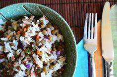 Ensalada de lentejas Grains, Rice, Food, Gastronomia, Lentil Salad, Vegetarian Recipes, Essen, Meals, Seeds