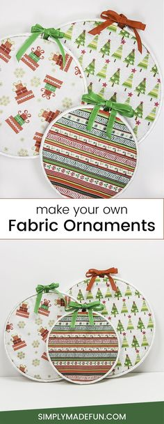 Christmas Crafts | Christmas Decor | Fabric Ornaments | DIY Christmas Ornaments via @simplymadefun