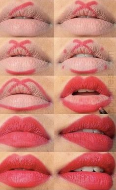 perfect red lips tutorial step by step - Trend Hair Makeup Flawless Skin 2019 Lipgloss, Red Lipsticks, Makeup Lipstick, Drugstore Makeup, Lipstick Dupes, Eyeliner Makeup, Lipstick Tricks, Kylie Lipstick, Mascara Tricks