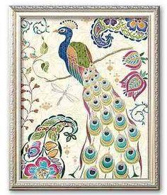 """""""Peacock Fantasy III"""" Framed Art Print by Daphne Brissonet $167.00 www.AllThingsPeacock.com"""