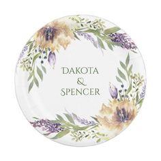 #BohoChic #RusticBoho Anemone Greenery Garden Floral Boho Modern Wedding Paper Plate #eharmony