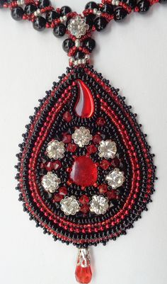 Beaded Pendant in Black and Red Shades