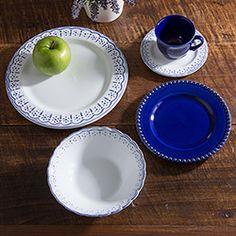 Aparelho de Jantar 20 Peças Cerâmica Provençal Branco e Azul - La Cuisine