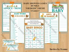 Baby Shower Games Bundle Oh Deer Theme: 6 by InvitesbyIvonne