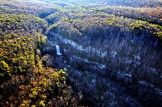 The Chickamauga Dam and Cloudland Canyon State Park are just 2.9 miles of new trail away from being connected for ambitious hikers and mountain bikers. Staff photo by Dan Henry/Chattanooga Times Free Press - December 01, 2010. The Lula Lake land trust area atop Lookout Mountain looking Northeast. Aerials from Hamilton County and Bradley County.