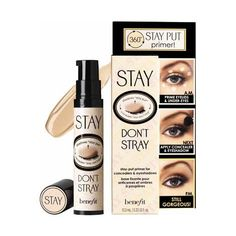 Benefit - Stay Don`t Stray Primer ~ This dual-action power primer works 360° around the eyes to make concealers AND eyeshadows STAY PUT. Concealers don't crease, eyeshadows stay vibrant and true... you'll wonder how you ever lived without Benefit Stay Don't Stray Primer for Concealers & Eyeshadows!