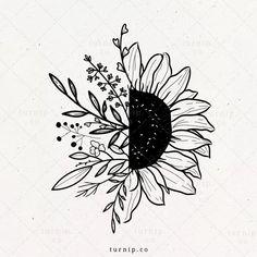 Cool Art Drawings, Art Drawings Sketches, Tattoo Drawings, Flower Sketches, Pencil Art Drawings, Sunflower Tattoos, Flower Clipart, Flower Doodles, Cute Tattoos