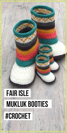 crochet Fair Isle Mukluk Booties easy pattern : crochet Fair Isle Mukluk Booties pattern – easy crochet Booties Pattern for beginners Crochet Booties Pattern, Baby Booties Free Pattern, Crochet Boots, Crochet Baby Booties, Cute Crochet, Crochet For Kids, Crochet Clothes, Crochet Patterns, Stitch Patterns