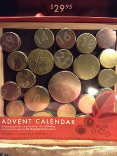 I love this advent calendar. Salted caramel in each tin & magnetic chalkboard. Reusable every year: just fill with your own goodies.