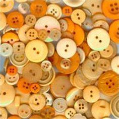 100 Mixed Buttons - Mango Tango Mix - Butterscotch, Light Orange, Peach, Tangerine, Pumpkin Orange, and more