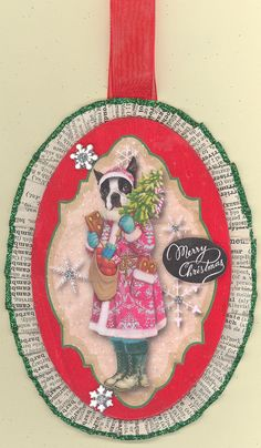 Boston Terrier Christmas Ornament Oval by ONEINTHREEWOMEN on Etsy