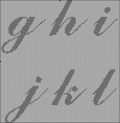 Free Cross Stitch or Hama cursive letter patterns