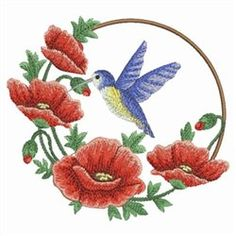 Ace Points Embroidery Design: Watercolor Poppies & Hummingbird 3.53 inches H x 3.84 inches W