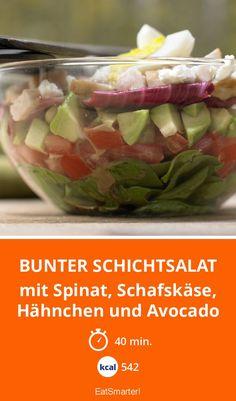 Bunter Schichtsalat - mit Spinat, Schafskäse, Hähnchen und Avocado - smarter - Kalorien: 542 kcal - Zeit: 40 Min. | eatsmarter.de