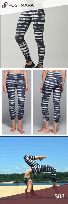 Lululemon High Times Pant in Shady Palms NWT! Size 6 High Times Pant in Shady Palms white/black print. In excellent condition. The High Times syle is 7/8 length with a high-rise waist. lululemon athletica Pants Leggings