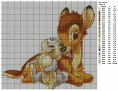 Resting Bambi & Thumper (with color chart). Tiny Cross Stitch, Cross Stitch Fabric, Cross Stitch Animals, Cross Stitching, Cross Stitch Embroidery, Disney Cross Stitch Patterns, Counted Cross Stitch Patterns, Cross Stitch Charts, Cross Stitch Designs