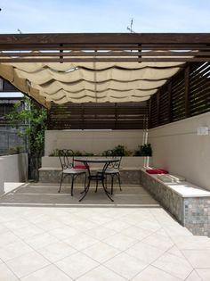 外構 庭 Exterior Garden、ウッドデッキ、アウトドアリビング、green、パーゴラ、日除け、アウトドアリビング、ガーデンテラス
