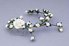 Floral hair comb Flower Hair comb wedding hair by FloralHeadpiece