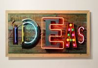 Something quirky and fun for the wall (no wall cupboards for me - too cluttered!) - fab neon sign from God's Own Junkyard