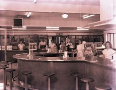 The counter staff at the Borden Mills dining area, 1947. Photograph by Thomas McNeer Jr.