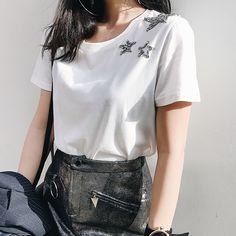 OFTBUY 2017 new spring summer tops korean fashion star patterns embroidery beading Diamonds hipster white black t shirt women