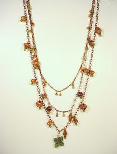 Handcrafted Copper and Afghan Jade Multiple Strand Necklace - Handmade - ALANGOO - $130 -