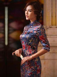 9bae7e3034834 Half sleeve neutral coffee purple blue silk traditional Chinese dress