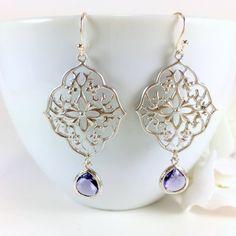 Silver Filigree Tanzanite Glass Drop Chandelier Earrings by BlingNiks on Etsy