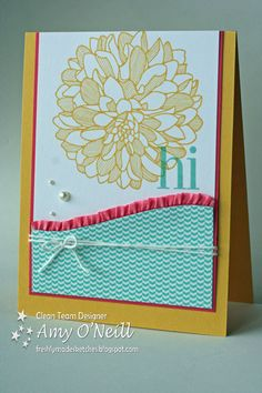 by Amy O'Neill, Amy's Paper Crafts Supplies Used: Stamps: Regarding Dahlias Ink: Daffodil Delight, Coastal Cabana Paper: Daffodil Delight, Strawberry Slush, Whisper White, In Color DSP Stack Embellishments: Strawberry Slush 3/8″ Ruffle Stretch Trim, White Baker's Twine, Pearl Basic Jewels.... Then I decided to just print the sketch, cut along the curve, and trace it onto my dsp.