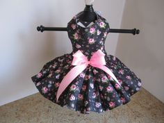 Dog Dress  XS Black With Pink Roses By by NinasCoutureCloset