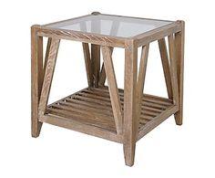 Mesa auxiliar de madera de roble y cristal Oak - marrón
